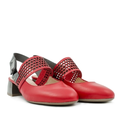 Red leather ballerinas