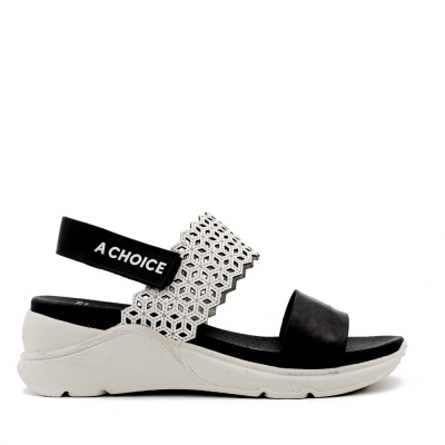 Flat Sandal Berlin Black White Hispanitas